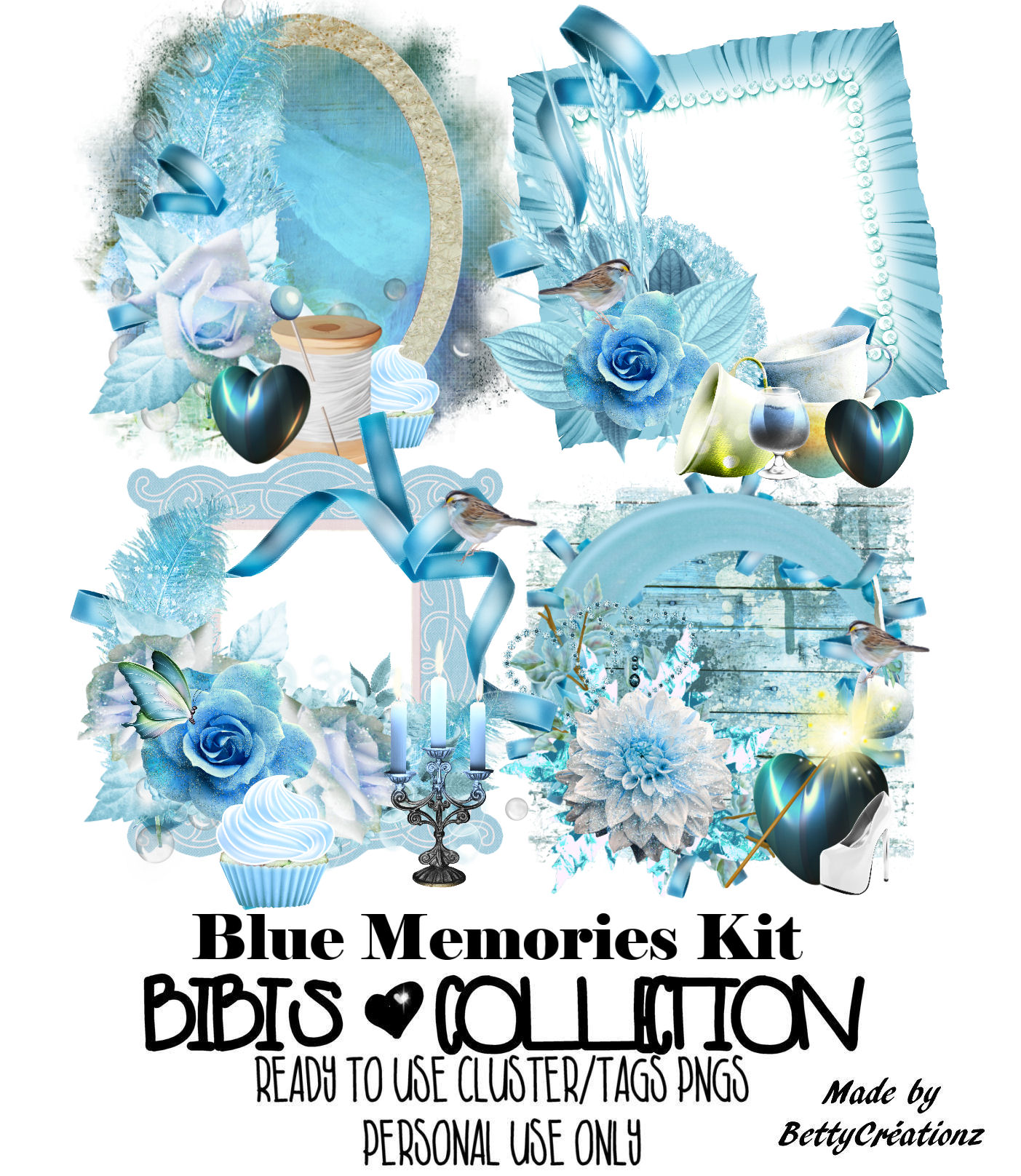 BLUE MEMORIES READY CLUSTER TAGS PNG